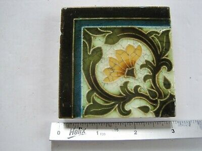 "Antique Victorian Mintons 3"" Square Moulded And Majolica Glazed Corner Tile"
