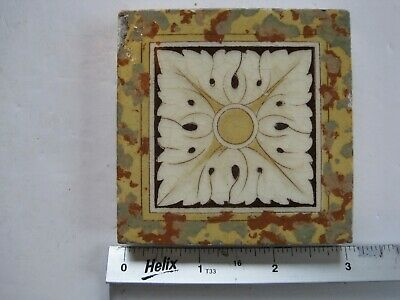 "Antique Victorian Mintons 3"" Square Coloured Transfer Print Tile - Cream Flower"