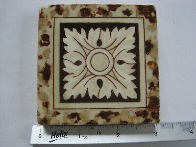 "Antique Victorian Mintons 3"" Sq. Coloured Transfer Print Tile - Central Flower"
