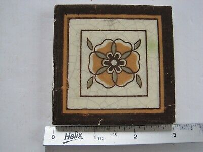 "Antique Victorian Mintons 3"" Sq. Coloured Transfer Print Tile - Orange Flower"
