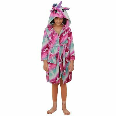 Kids Girls Unicorn Hooded Bathrobe Pink Xmas Cosplay Costume Loungewear Suits