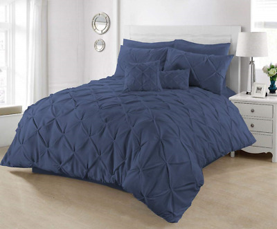 SeventhStitch Pintuck Duvet Cover with Pillowcases 100% Percale Cotton Quilt Bed