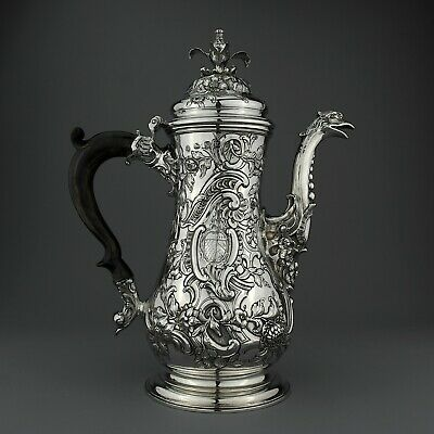 FANTASTIC Ornate Antique George II Solid Sterling Silver Coffee Pot London, 1758