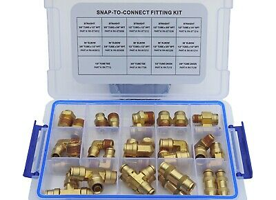 Brass Push To Connect Air Brake Line Fitting Connector Kit, Dot Approved
