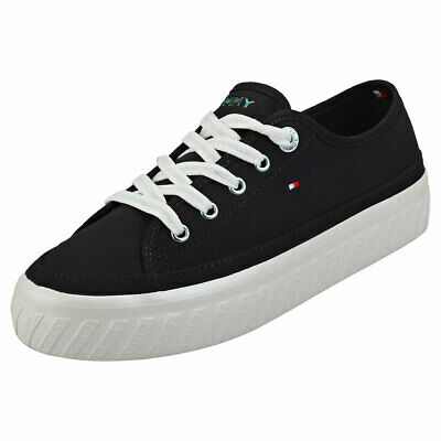 Tommy Hilfiger Outsole Detail Womens Midnight Navy Textile Flatform Trainers