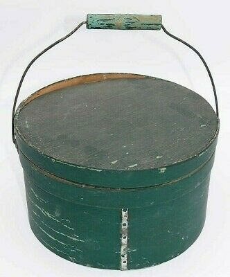 Antique Pantry Box Original Green Paint. Firkin.  Bail Handle Wood with Lid NICE