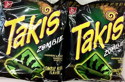 TWO Bags Takis Zombie Habanero Chips 4oz Bags American Import VERY RARE