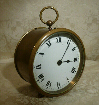 Antique French Brass Drum Cased Mantel Clock Porcelain Dial Swiss Movement 5""