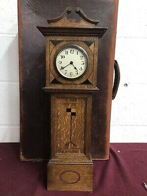 Antique Miniature Long Case Clock Inlaid Marquetry Oak Tunbridgeware