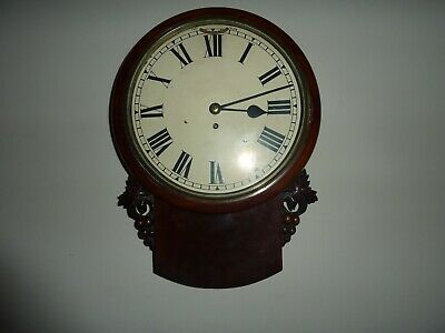 English Fusee Drop Dial Clock Flame Mahogany Case Late 19th Century