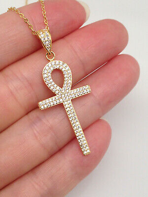 """925 Sterling Silver 30mm Cz Ankh Cross Pendant Necklace Womens 17.75"""""""