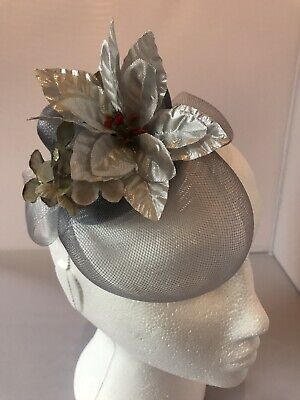 Vintage Style Grey Hair Clip Fascinator Silver Poinsettia Veil Christmas
