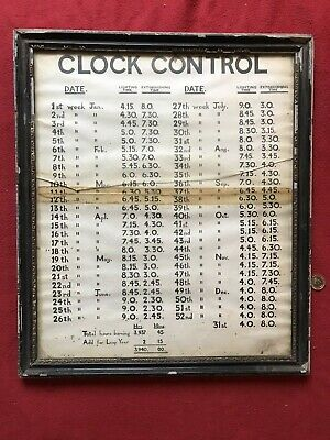Original Victorian Clock Control Street Gas Lighting Up Timetable Chart