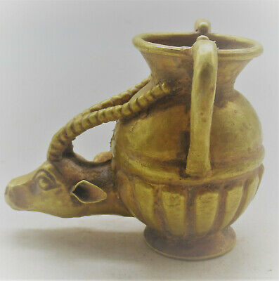 Rare Ancient Persian High Carat Gold Amphora Vessel With Rams Head