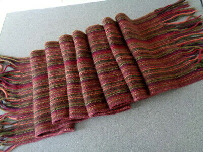 "Burrows Red Mix striped Pure Lambswool 80"" Long Scarf Made in Scotland"