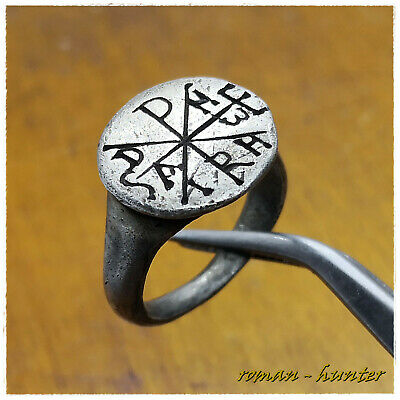 """ CHI-RHO  MONOGRAM "" ancient SILVER Roman-Byzantine ring !!!! 8,62g  IV-VI ct"