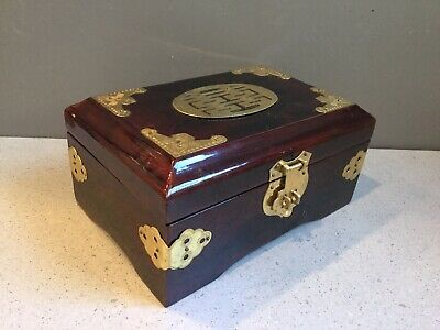Vintage Chinese Brass Lacquer Wooden Jewelry Trinket Box