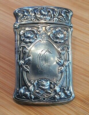 Gorham Sterling Silver Engraved FLORAL + Vine Match safe Vesta case B2199.