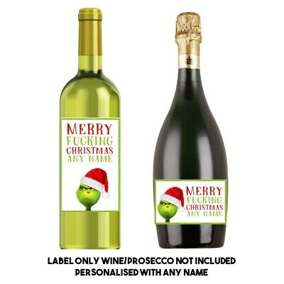 PERSONALISED Funny grinch Christmas wine label best friend colleague anyone