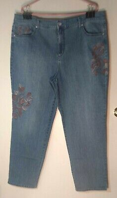 "Gloria Vanderbilt Women's Plus Size 20W Light Wash Jeans ""Amanda"" With Floral..."