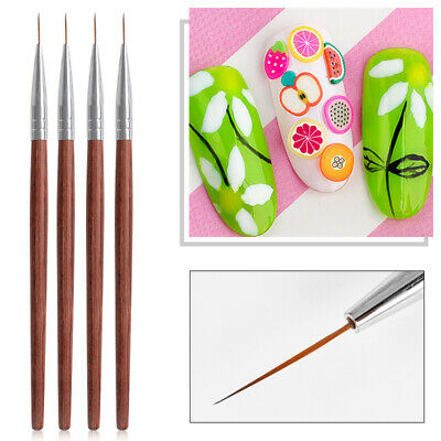Wooden Nail Art Liner Painting Pen 3D Acrylic UV Gel Brushes Drawing Tips Tool