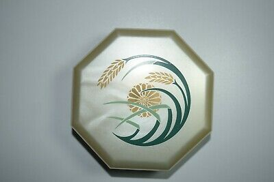Vintage Merle Norman Cosmetic Plastic Case Octagon Powder Box Wheat Floral 1970s