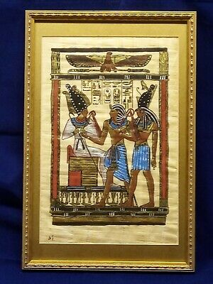 Vintage Rare Authentic Hand Painted Ancient Egyptian Papyrus Framed .Signed