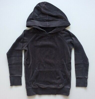 GAP KIDS Girls Sz M 8 Dark Gray Velour Hooded Sweatshirt Hoodie