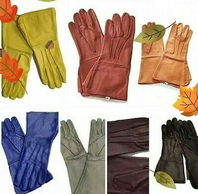 100% Genuine Leather Gauntlet Gloves Long Arm Cuff