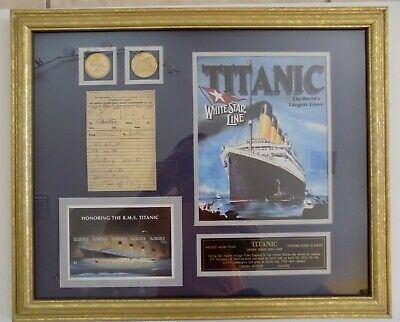 Titanic Commemorative Framed Limited Edition Photo Poster Coins Ticket HTF