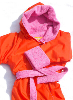 ORANGE/PINK size Small 6-7yo Towelling RAPPCO Swimming Parka Robe Jacket Coat