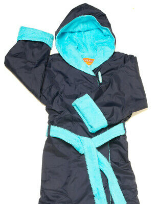 NAVY BLUE AQUA size Small 6-7yo Towelling RAPPCO Swimming Parka Robe Jacket Coat
