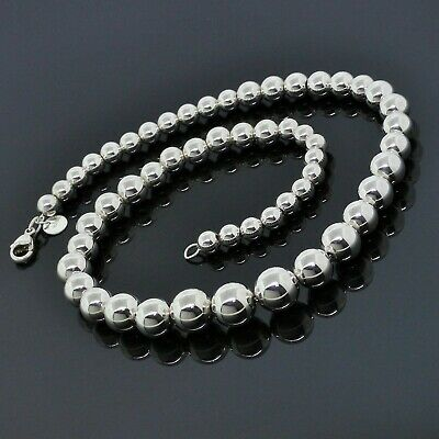 Vintage Tiffany & Co. 925 Sterling Silver Graduated 6mm-11mm Ball Bead Necklace