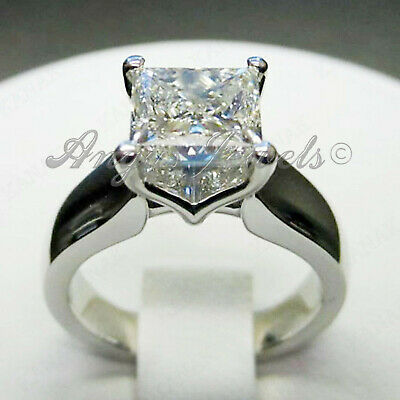 2.23ct Princess cut Solitaire Diamond Engagement Ring Band Solid 14k White Gold
