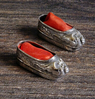Antique Chinese SilverTiny Model Shoe s Slippers by  Wang Hing ; Pin cushions?