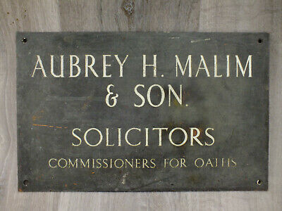 Antique Brass Solicitors Sign - Heavy plate - Great Piece