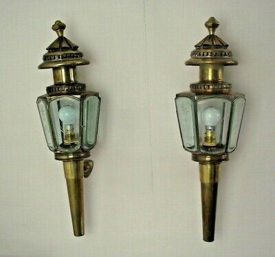 Pair Antique French Brass & Copper Wall Mounted Coach Lanterns Etched Glass 1551