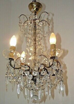Beautiful French Chateaux  Antique Brass & Glass 4 Light Crystal Chandelier 1573