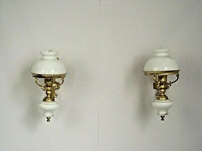 Pair French Cast Bronze & Porcelain Wall Sconces Opaque White Glass Shades 1556