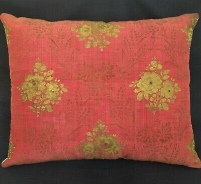 Vin. Silk & Linen Pillow Rose Color w/Hand Painted Stenciled Florals & Wheat