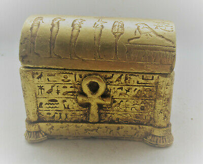 Beautiful Ancient Egyptian Faience Gold Gilded Safe Box Anhk Key Of Life