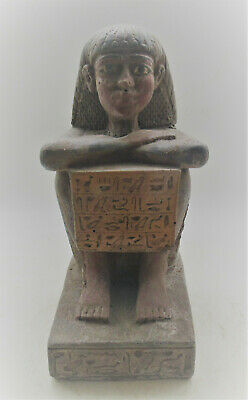 Beautiful Antique Egyptian Stone Statuette Of A Ruler With Heiroglyphics