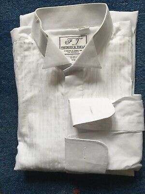 Gents White Wing Collar Long Sleeved Dress Shirt With Double Cuffs