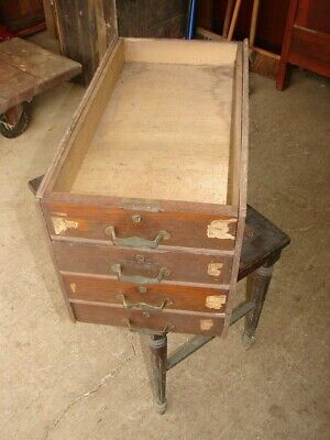 4 Oak Drawers in Case from Large Old Safe Interior - NICE