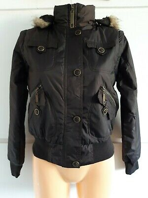 Lee Cooper £74.99 Brown Hooded Convertible Fur Lined Padded Jacket Gilet Size 8
