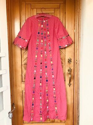 Vintage 60s 70s Mexican Wedding Dress Maxi Pink Pintuck Embroidery M
