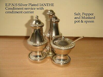 Silver Plated E.P.N.S IANTHE Condiment service & carrier Salt,Pepper Mustard pot