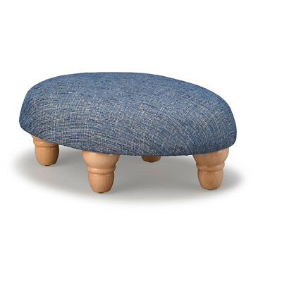 Biagi Upholstery & Design Denim Blue Small Oval Footstool with Turned Wood Feet