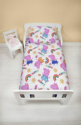 Peppa Pig Cheerful Junior Toddler Cot Bed Bundle, Inc Duvet, Pillow, Bedding