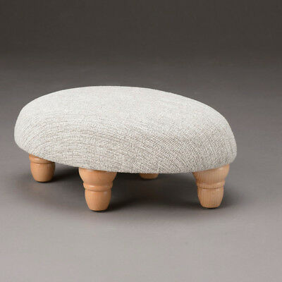 Biagi Upholstery & Design Ash Grey Small Oval Footstool with Turned Wood Feet